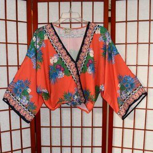 Flying Tomato Tropical Floral Faux-Wrap Blouse